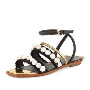 Tory Burch Black and Gold Sinclair Sandals NEW!
